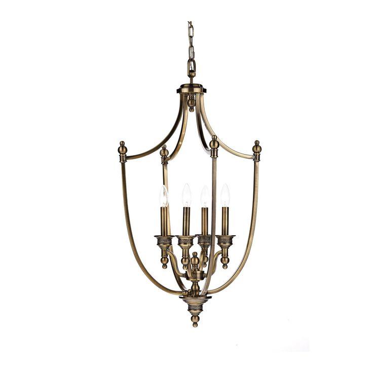 Dar LOM0475 Lombard 4 Light Antique Brass Ceiling Pendant