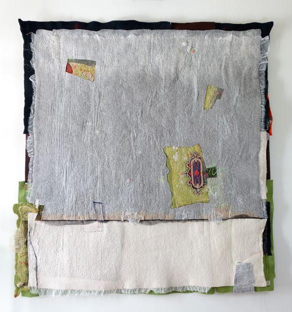 """Thoughts"" Felting, application, embroidery , Marijke Leertouwer"