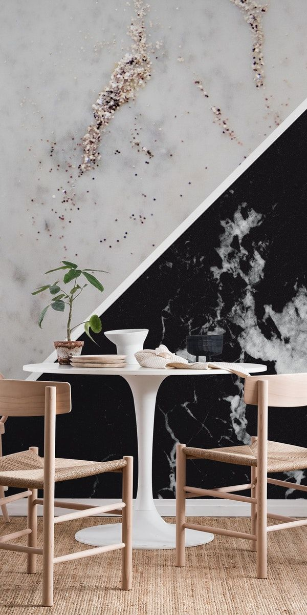 White Marble Black Marble 1 Wall Mural From Happywall Graphicdesign Silverglitter Abstract Color Bu Wallpaper Interior Design Marble Wallpaper Wall Murals