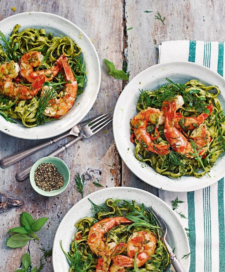 Try pesto with a difference in this recipe where it's made with tarragon, dill, rocket and almonds then served with fresh king prawns and tagliatelle pasta.