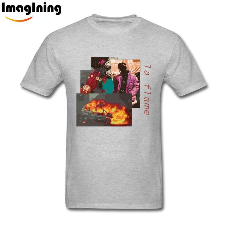 Art Male's Travis Scotts Rodeo Tour La Flame Tees Shirt Popular  White Short Sleeve T-shirt #Affiliate