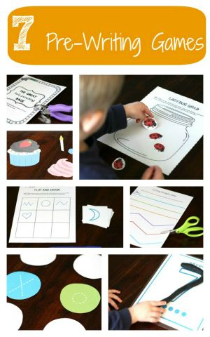 7 Pre-Writing Printable Games. {Playdough to Plato}Printables Games, Activities Packets, Hands Ey Coordinating, Fine Motors Games For Kids, Strengthening Hands Ey, Motors Skills, Writing Activities, Writing Games For Kids, Hands Muscle