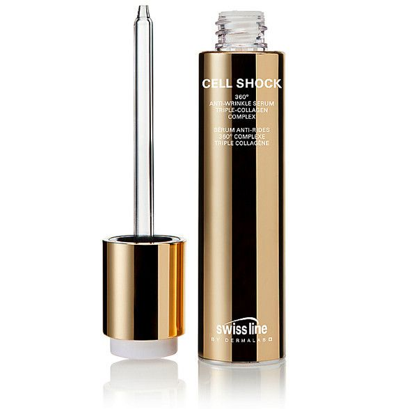 SWISSLINE CELL SHOCK 360º ANTI-WRINKLE SERUM TRIPLE COLLAGEN COMPLEX Cell Shock 360º Anti-Wrinkle Serum Triple Collagen Complex provides a visible line-filling effect by infusing dry skin with intense moisture and lasting resilience. Its triple collagen complex offers three different paths to collagen refurbishment by increasing the skin's own collagen production. #Swissline #collagen #Serum #Triplecollagen #faceserum #bestserums