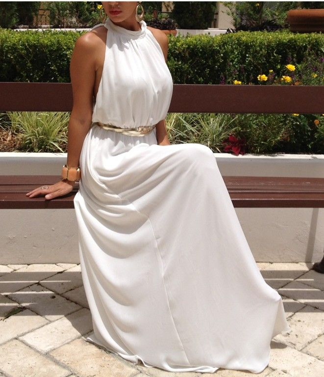 Grecian White Belted Maxi Dress