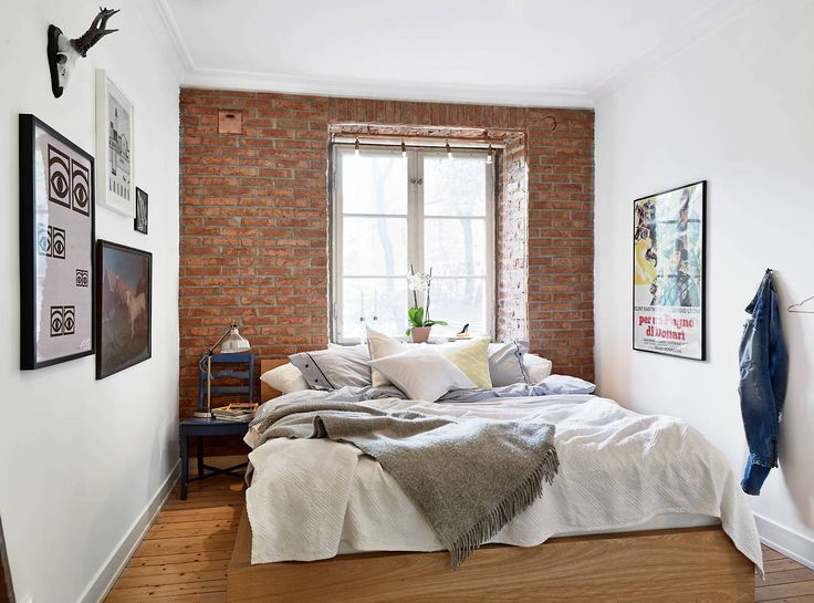 beautiful brick accent wall minimal space but decor creates - Brick Wall Bedroom