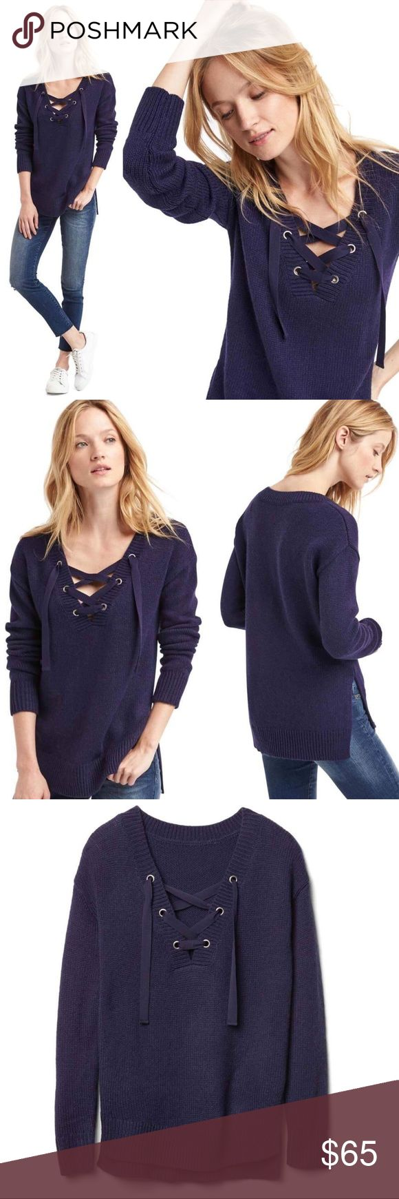 """GAP Shoelace V-Neck Lace Up Xtra Long Sweater Soft, cozy fabric. Low shoulder long sleeve. Deep V-neck with fist detail. Side slits on the skirt. Smooth and comfortable cutting. Sit under the hips. Model is 5'9"""" wearing a size S (Bust 33"""" & Waist 24""""). Machine wash cold and lay flat to dry.  Item Specifics: Brand: GAP Style#: 520368 Color: Navy Blue New with Tags: Yes Orig Price: $79.95 Zipper: No Length: 26.5"""" Materials: 60% acrylic, 30% wool, 10% linen GAP Sweaters V-Necks"""