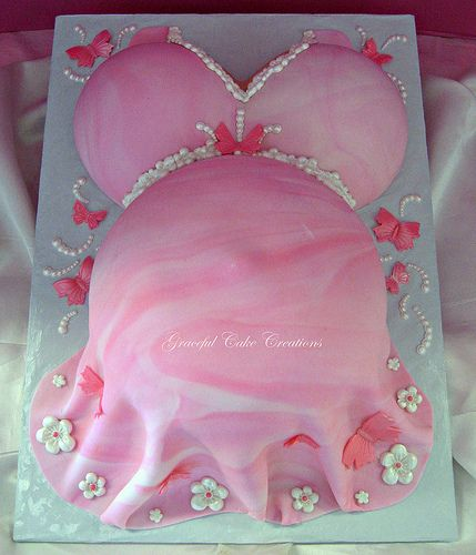 Pink Baby Bump Baby Shower Cake with Butterflies and Flowers   by Graceful Cake Creations