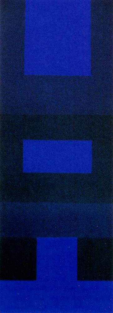 """Ad Reinhardt """"Abstract Painting, Blue""""  1952.  Wanted to stay away from what they were told about abstract impressionism.. fits into that category as well as minimalism.  Tower shape."""