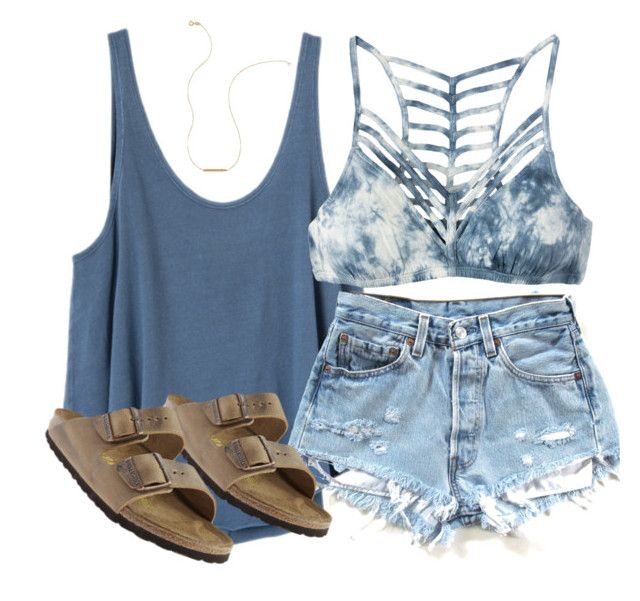 """plainnn"" by racheld24 ❤ liked on Polyvore featuring RVCA, Birkenstock and Wish by Amanda Rose"