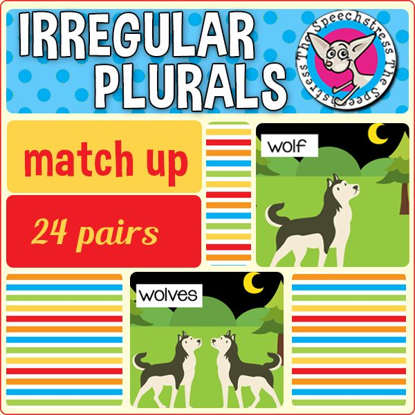 FREE! Students learn to label and identify correct irregular plural noun forms through matching singular and plural noun pairs. 24 pairs included.