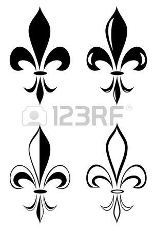 A Fleur de lys tatouage tribal ensemble Banque d'images
