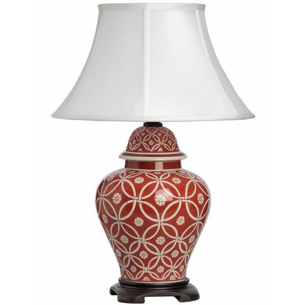 Ceramic cream-coloured table lamp with beautiful red patterns. It has an additional wooden stand.