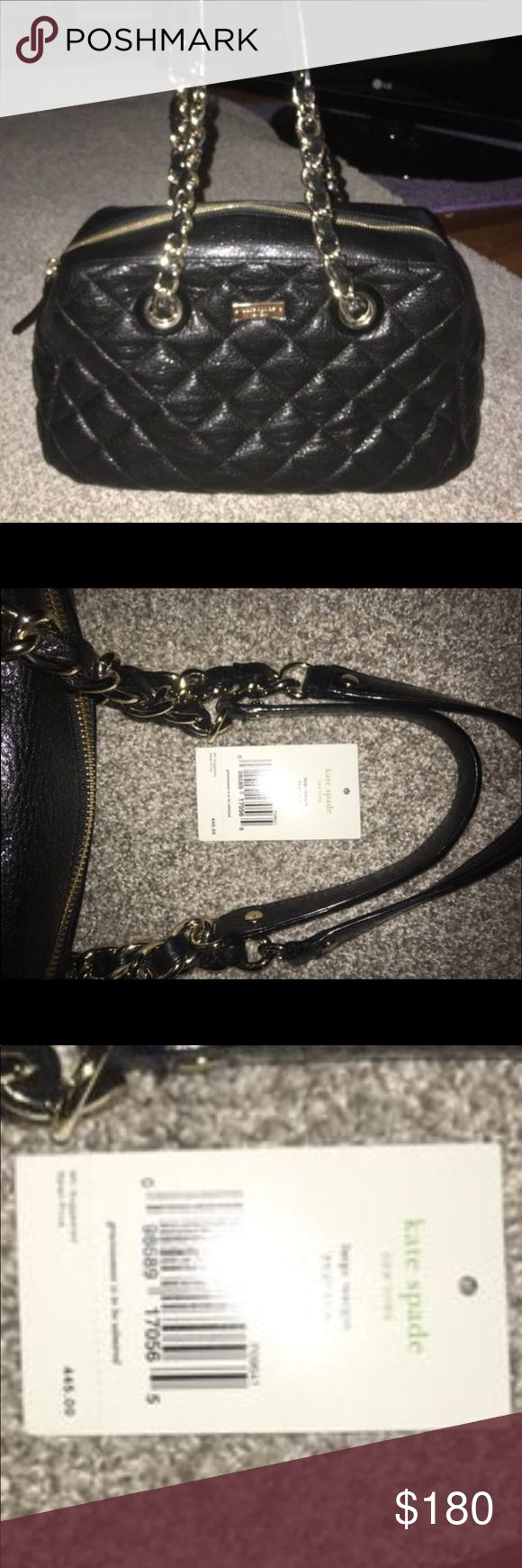 """Kate Spade Large Margot Gold Coast Bag PXRU2168 Black quilted leather with gold hardware. Brand new never used. Perfect condition.  13""""L x 11""""H x 6""""W 10"""" strap drop. Retail price $445 in gift giving condition. kate spade Bags Shoulder Bags"""