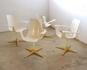 "Rare set of 4 contour armed, swivel dining chairs designed by Luigi Colani for Lusch; c. 1970 34""h, 25.5""w, 21""d"