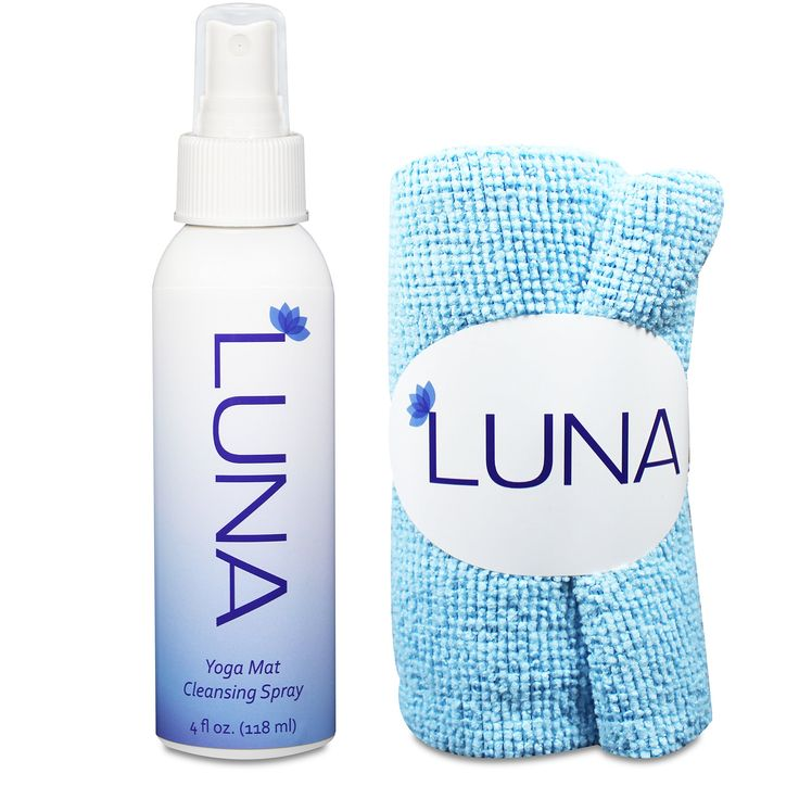 Luna Yoga Mat Cleaner Spray Kit 4oz - 100% All-Natural & Organic - Clean & Disinfect With No Sticky Residue - Includes Microfiber Cloth Yogi Towel. 100% ALL NATURAL CLEANING POWER: Made with saponified organic oils of coconut, olive, and jojoba, blended with the rejuvenating essential oils of geranium, bergamot, and rosemary. These ingredients give Luna Yoga Mat Cleansing Spray the power to effectively rid your yoga mat of germs, dust, bacteria, and sweat without any harmful chemicals…
