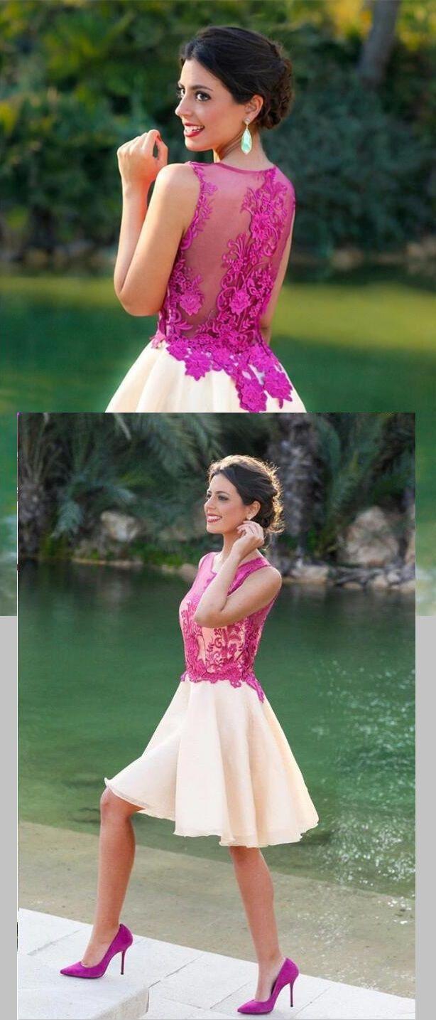 vintage pink lace a-line/princess short chiffon homecoming dress