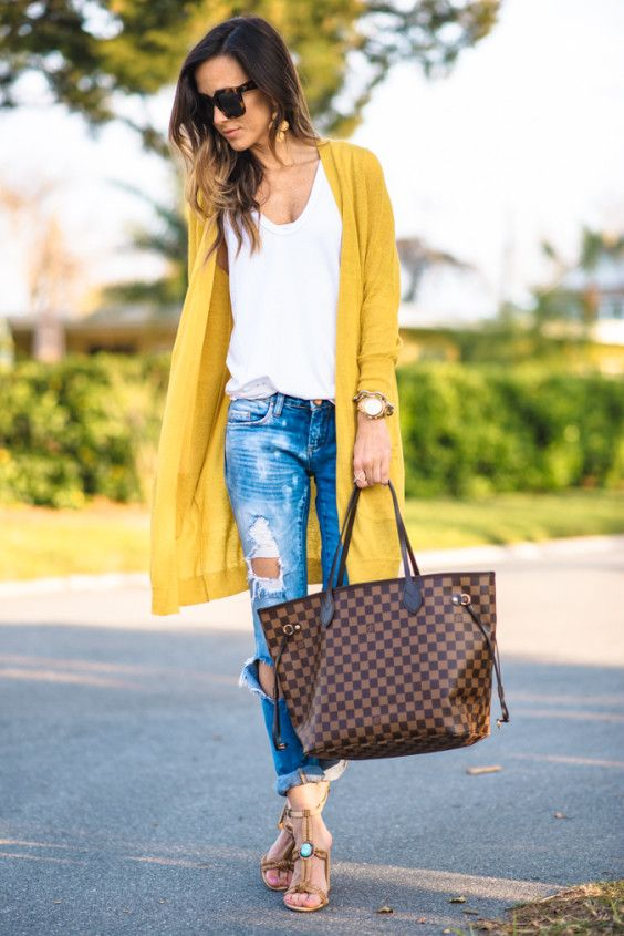 spring casual: distressed denim, white t, long cardigan, louis vuitton damier neverfull