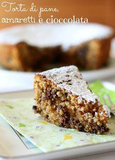 Torta di pan grattato, amaretti e cioccolata - Ingredienti per uno stampo da 20 cm: 200 gr di pangrattato, 200 gr di amaretti sbriciolati, 200 gr di zucchero, 250 gr di panna da cucina fresca, 100 gr di cioccolato fondente tritato grossolanamente, 3 uova, una bustina di lievito, un cucchiaino di estratto di vaniglia, zucchero a velo. Stessi ingredienti e molto simile: http://panzaepresenza.blogspot.it/2013/05/la-torta-antichissima-di-amaretti-e.html