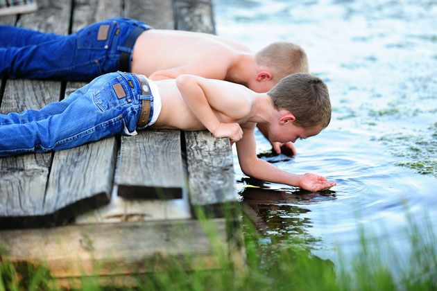 Oh how I love little boys having fun in the country!
