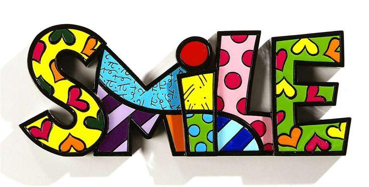 Romero Britto Word Art Collection - SMILE Figurine - Polyresin NEW #331486