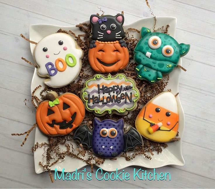 ghost cat monster candy corn bat pumpkin halloween cookies - Halloween Cookies Decorating Ideas