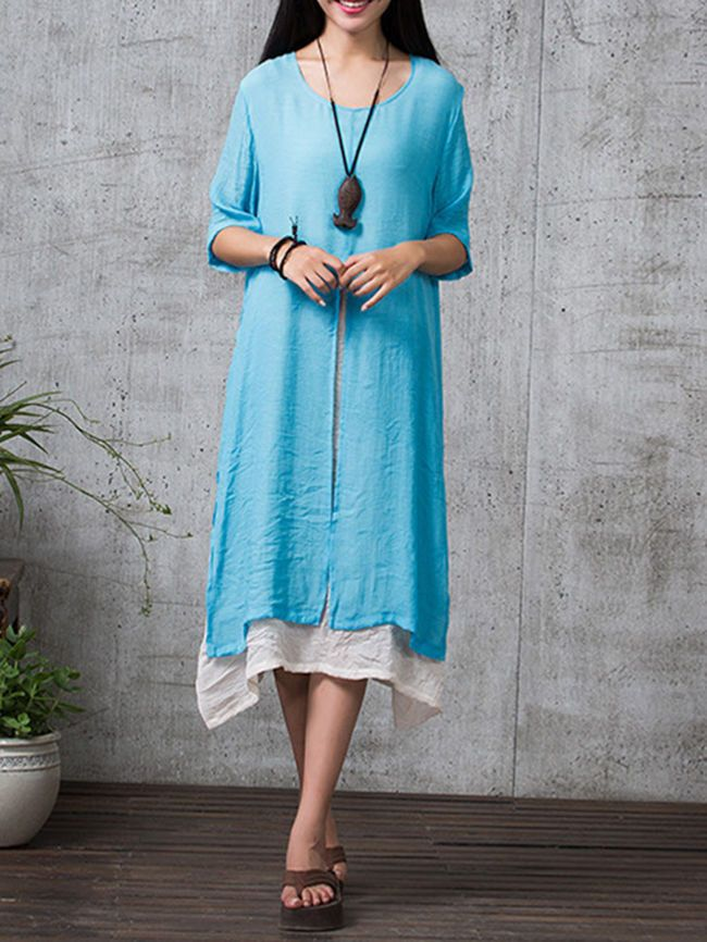 Specifications            Product Name:    Asymmetric Hem Half Sleeve Color Block Round Neck Maxi Dress          Weight:    280(g)          Pattern Type:    Color Block          Occasion:       Casual  /  Date             Dress Silhouette:    Shift          Length:    Calf-length          Sleeve:    Half Sleeve          Material:    Cotton/linen          Embellishment:    Asymmetric Hem          Collar&neckline:    Round Neck          Season:    Summer          Package Included:    Dress / 1…