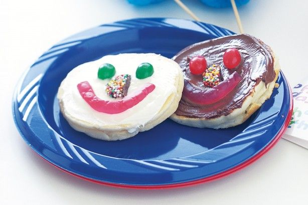 For a great kid's party idea, put out all the toppings and let the kids decorate their own happy face on each pikelet.