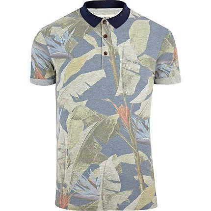 Blue tropical floral print polo shirt