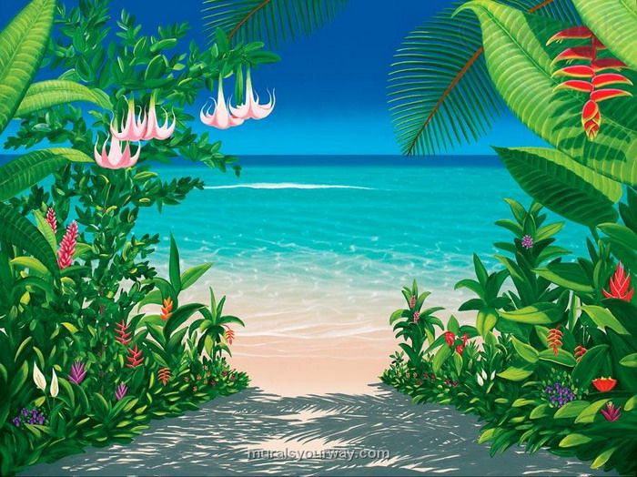 Tropical Beach view Wall Paper Wall Print Decal Wall Deco Indoor ...