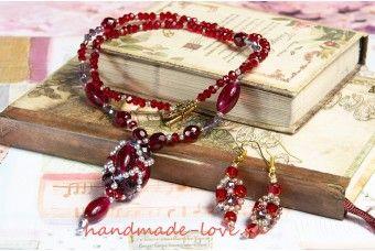 На заказ: рубиновые кулон и серьги из хрустального жемчуга swarovski, чешских…