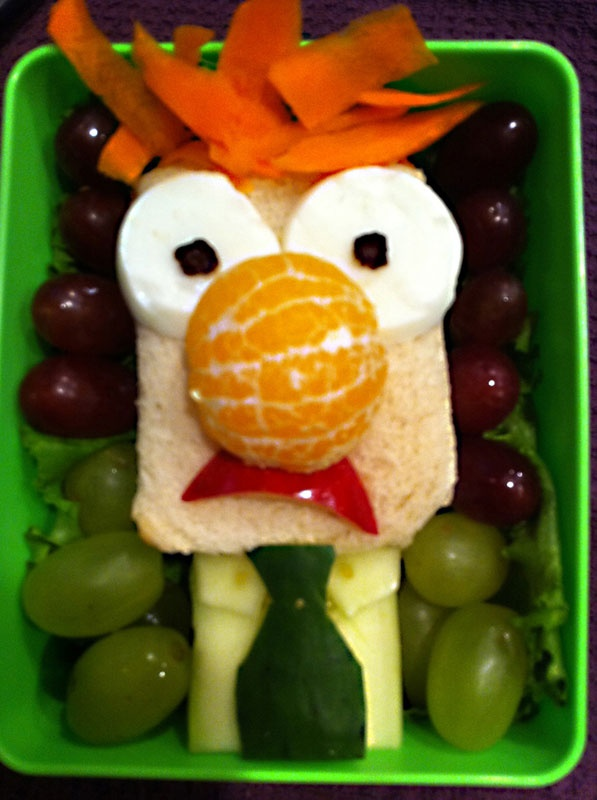 Beaker!  Mom (and surprise culinary artist) Heather Sitarzewski tasked herself with making one nerdy bento box for her son every day for his school lunch, and the gallery you see here is filled with the tasty results. She now boasts nearly 150 geeky creations under her belt, which run the gamut from just plain delicious to referencing Harry Potter, Pac-Man, Angry Birds, Hello Kitty, a whole slew of classic Disney characters and more.