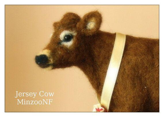 Cow Needle felting Jersey Cow Cow decor by MinzooNeedleFelting