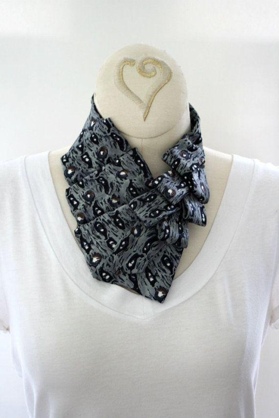 repurpose ties   Women's Collar Ascot Silver Grey Repurposed by OgsploshAccessories