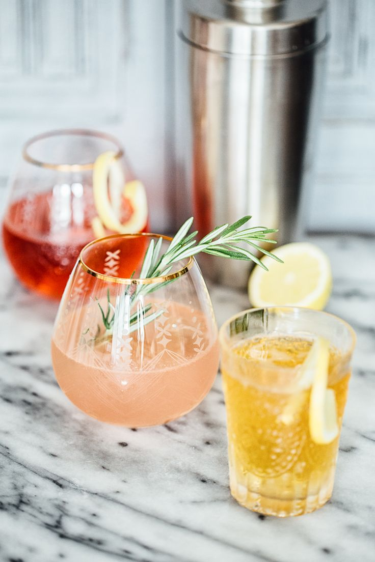 Three Creative Ways with Gin and Tonic-Earl Grey Gin and Tonic, Hibiscus and Lemon Gin and Tonic, Rosemary and Grapefruit Gin and Tonic.
