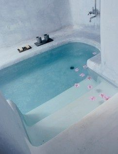 Sunken bathtub. Its like a pool in your bathroom. Decreases risk of slipping/tripping over the edge
