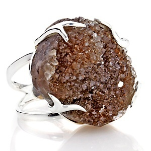Deb Guyot Natural Herkimer Drusy Quartz Sterling Silver Ring at HSN.com.