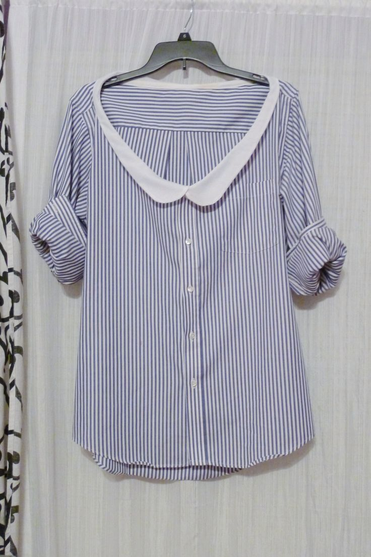 Thrifted Mens Shirt With Diy Peter Pan Collar � Free tutorial with pictures on how to make a shirt in under 60 minutes #howto #tutorial