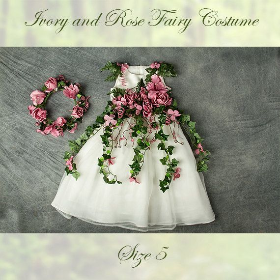 Ivory and Mauve Rose Fairy Costume Size 5 for by Fairy Photography