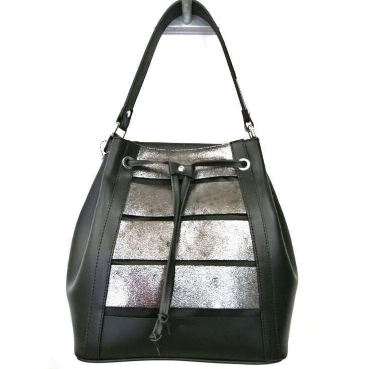 Art. M391 borsa in pelle ruga + crosta laminato