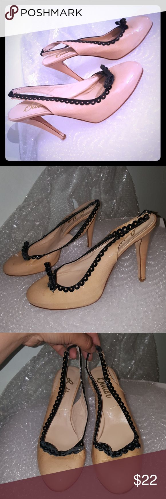 """Butter heels size 10 Lavorazione Artigiana 4.5"""" heels, 3/4"""" hidden platform. Leather sole. Made in Italy. Patent leather upper & trim. Some staining to the leather. Made in Italy. Butter Shoes Platforms"""
