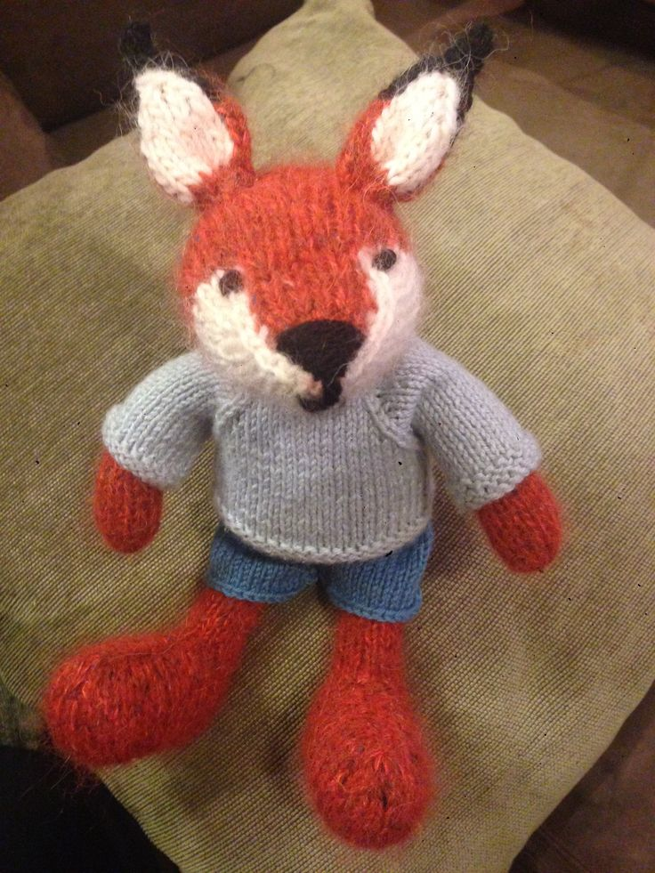 Reynard the fox. Knitted for Charlie Bear, by Aunty Marg. Pattern by Little Cotton Rabbits.