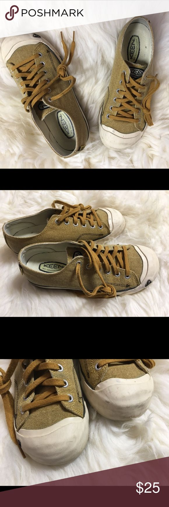 Keen shoes Tan Canvas Keen shoes.  Worn, but still in good condition with lots of life left!!!  Canvas with white rubber toe. Keen Shoes Flats & Loafers