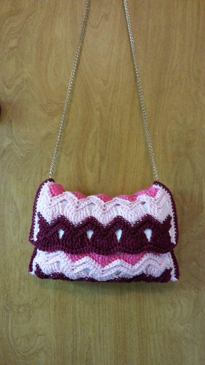 #Crochet Vintage Ripple Stitch Handbag Purse #TUTORIAL
