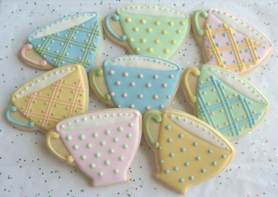 Reserved for Lainey-------BREAK TIME - Tea Cup Cookie Favors - Tea Cup Decorated Cookies - Cookie Favors - 8 Cookies via Etsy