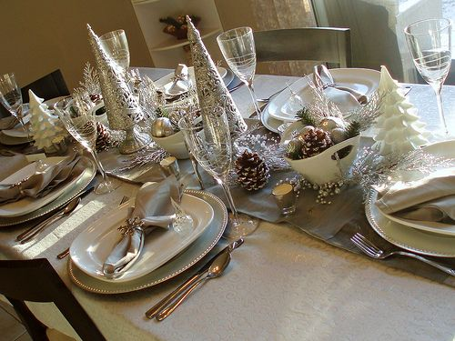 Beautiful Tablescape.  Even though this was designed for Christmas, this would be a lovely New Years Day Dinner Table, also.