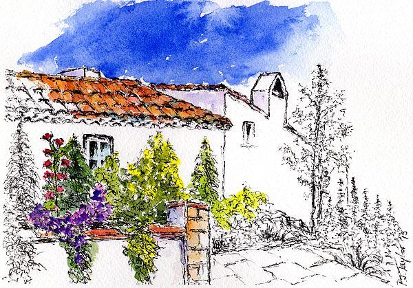 Villa Garden  Pen and Watercolour Wash