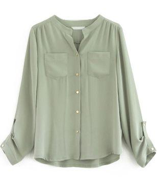 Light Green Long Sleeve Pockets Chiffon Blouse - Sheinside.com