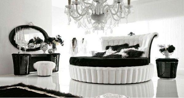 Luxus schlafzimmer schwarz weiß  luxus schlafzimmer design ideen schwarz-weiß rundbett kronleuchter ...