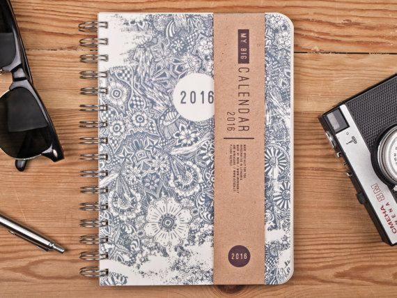 You can choose the STARTING MONTH (or even UNDATED version) from the drop down menu!  2016 Weekly planner THE BIG Calendar made in minimal style