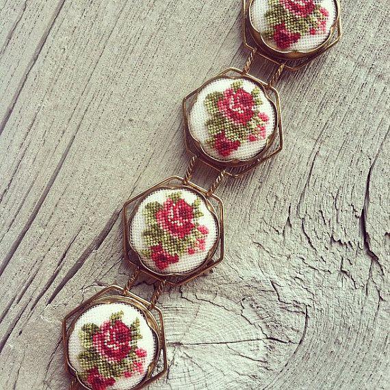 Vintage Floral Needlepoint Bracelet